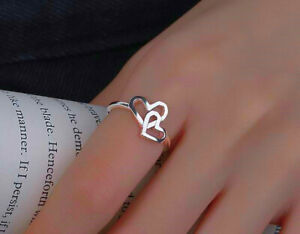 Double Liked Heart Adjustable Rings 925 Sterling Silver Womens Jewellery Gift UK