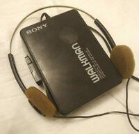 Sony Walkman Vintage 1989 Cassette Player WM-B10 WM-A10 with MDR-005 headphones.