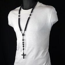 Men's Hip Hop 15mm BLACK Beads Guadalupe Rosary & Jesus Cross Necklace BK