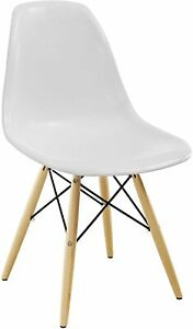 Modway Pyramid Chair with Natural Wood Legs in White New