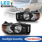 For 02-05 Dodge Ram 1500 2500 3500 Pickup Amber Corner Headlights Lamps Black