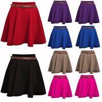 Womens Skirts Ladies Belted Flared Plain Mini Skater Skirt Girl All Sizes*PnT