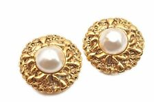 Authentic CHANEL Clip-On Earrings Imitation Pearl Gold Plated CC 81689