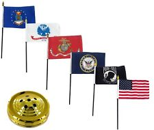 "USA Armed Forces Military Pow Mia 6 Flags 4""x6"" Desk Set Table Stick Gold Base"