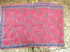 Vintage Beautiful RED Blue Paisley Hippie Boho LONG Dresser Table Scarf Tablerun