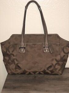 Coach Taylor Op Art Alexis Carryall Shoulder Tote Handbag Gray, Silver F25501