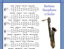BARITONE SAXOPHONE 12 SCALES POSTER FOR SAX - CHART - EVERY NOTE IN ANY KEY