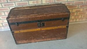 Antique Old Wooden Ship Chest Working Lock And Key RARE - Pickup Only - (4.519)