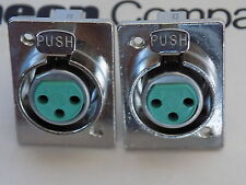 PAIR Switchcraft Y3FPCD 3-Pin XLR Chassis Mount Connector in Satin Nickle