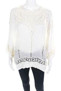 Isabel Marant Etoile Womens Embroidered Dolman Sleeve Blouse Ivory Size FR 42