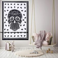 Human Skull Tapestry Wall Hanging Black White Ethinc Large Wall Decorative Throw