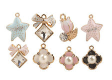 Clover Rhinestone Bowknot Starfish Charms 10Pcs Mixed Lots of Faux Pearl