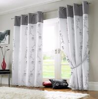 TAHITI SILVER & WHITE LINED VOILE RING TOP EYELET CURTAINS ~ Many Sizes