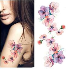 Removable Stickers Woman Body Art Arm Tattoos Waterproof--Water-color Floral
