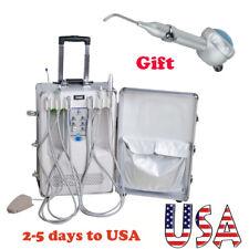 Portable Dental Delivery Unit Suit Case Air Compressor Scaler Curing Light Syrin