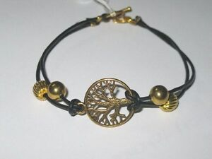 Simple yet striking black leather bracelet with gold tone TREE OF LIFE -21.5cm