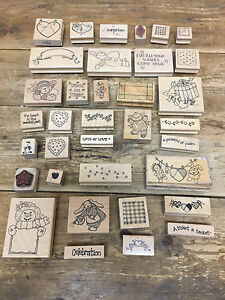 Lot of 35 Rubber Stamps Scrapbooking Imagine That Stamp Art Supplies Heart etc