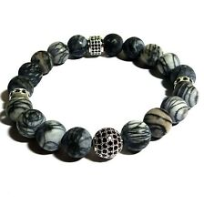 "Jfts, Men's, Black, Picture Jasper, Stretch, Bracelet, Jewelry, 8"", Xmas Gift"