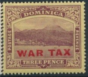 Dominica - War Tax - 1918 - Sc MR4 - 3p Violet MH cv=US$5.50