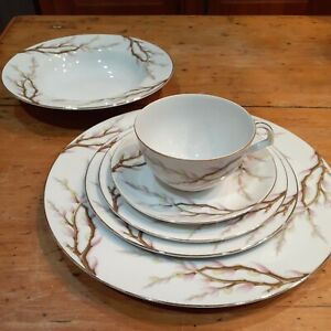 Kent China Spring Willow Dinner/Salad/B&B Plate/Rimmed Soup/C&S 6pc