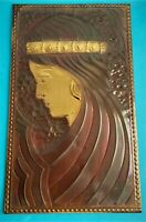 Jugendstil Messing Relief Wandbild H: 38cm
