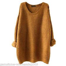 Oversize Damen Langarm Strickshirt Sweater Cardigan Pullover Pulli Locker Tops