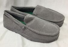 Dearfoams Men's Slippers Moccasins 7-8 Grey Loafers Cigar House Shoes