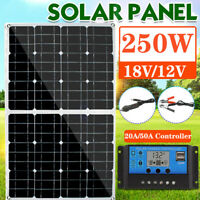 250W Foldable USB Mono Solar Panel 12V Battery Charger w/ Controller for RV Boat