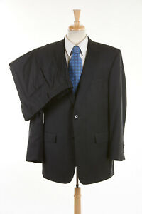 Mens JOS A BANK SIGNATURE GOLD Suit 43 L in Charcoal Gray Pinstripe Wool