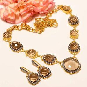 Smokey Quartz Gold & Black Rhodium Plated Handmade Necklace 17.99 & Earring