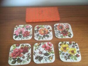 6 X 1950's Floral Coasters- Boxed Retro Vintage (B12)