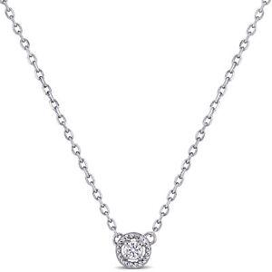Amour 14k White Gold Diamond Halo Necklace