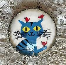 """BLUE CAT AND RED BIRDS Glass Dome BUTTON 1 1/4""""  Fun Music Retro Friends Card"""