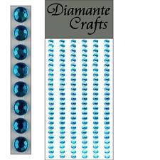 150 x 4mm Turquoise Diamante Self Adhesive Strips Rows Rhinestone Craft  Gems