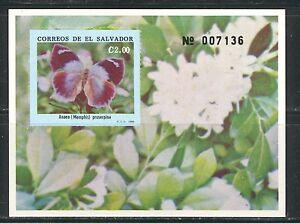 EL SALVADOR 1990, BUTTERFLY, Scott 1262 SOUVENIR SHEET,  MNH