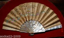Antique Important Mother Of Pearl And Silk Hand Fan