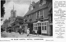 Ye olde Castel Hotel Pub Cambridge Advertising unused old pc Scott & Wilkinson