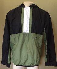 Vintage Nike Mens Black Green Full Zip Nylon Windbreaker Rain Jacket - D