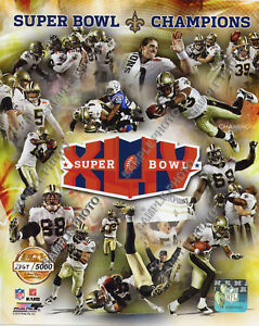 2009 New Orleans Saints Super Bowl XLIV Champions 8X10 TEAM PHOTO Gold #/5000
