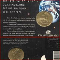 Australian Mint 1992 $5 Bronze Coin Year of Space Commemorative Issue + Card