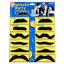 12 Pack Self Adhesive Assorted Fake Moustache Set Fancy Dress Party Stylish SP