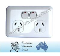 Slimline Wafer Double Power Point GPO White Slim 10 AMP Outlet Socket Electrical