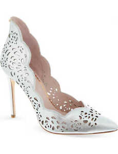 Ted Baker~Silver Laser Cut  Heel Shoes~Size UK5