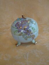Vintage Footed Porcelain Trinket Box Blue with Purple Flowers Applied Gold Rose