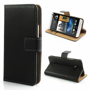 LUXURY REAL LEATHER WALLET STAND CASE CARD POCKET FOR HTC ONE M8 UK FREE DISPATC