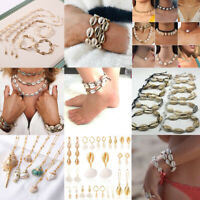 Natural Shell Necklace Multilayer Gold Sea Shell Pendant Chocker Beach Jewelry