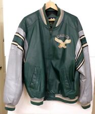 VGUC Rare Vintage Philadelphia Eagles Mirage Men's Sz XL Green Leather Jacket MS