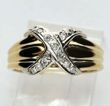 Diamond X twist ring 14K 2 tone gold 13 round brilliants .15CT 4 GM 10.2 MM sz 6