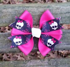 Pink Monster High Skull Hair Bow 4 inch (NatalieRoseHairBows USA)