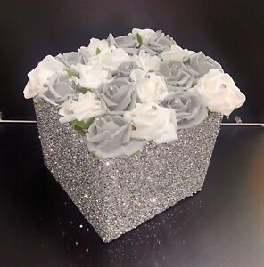 CRUSHED DIAMOND SILVER CRYSTAL SQUARE VASE WITH FOAM FLOWERS